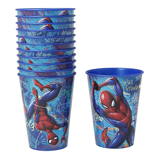 PACK 12 VASOS PARA CUMPLEAÑOS | SPIDERMAN GRAFFITI: Amazon ...