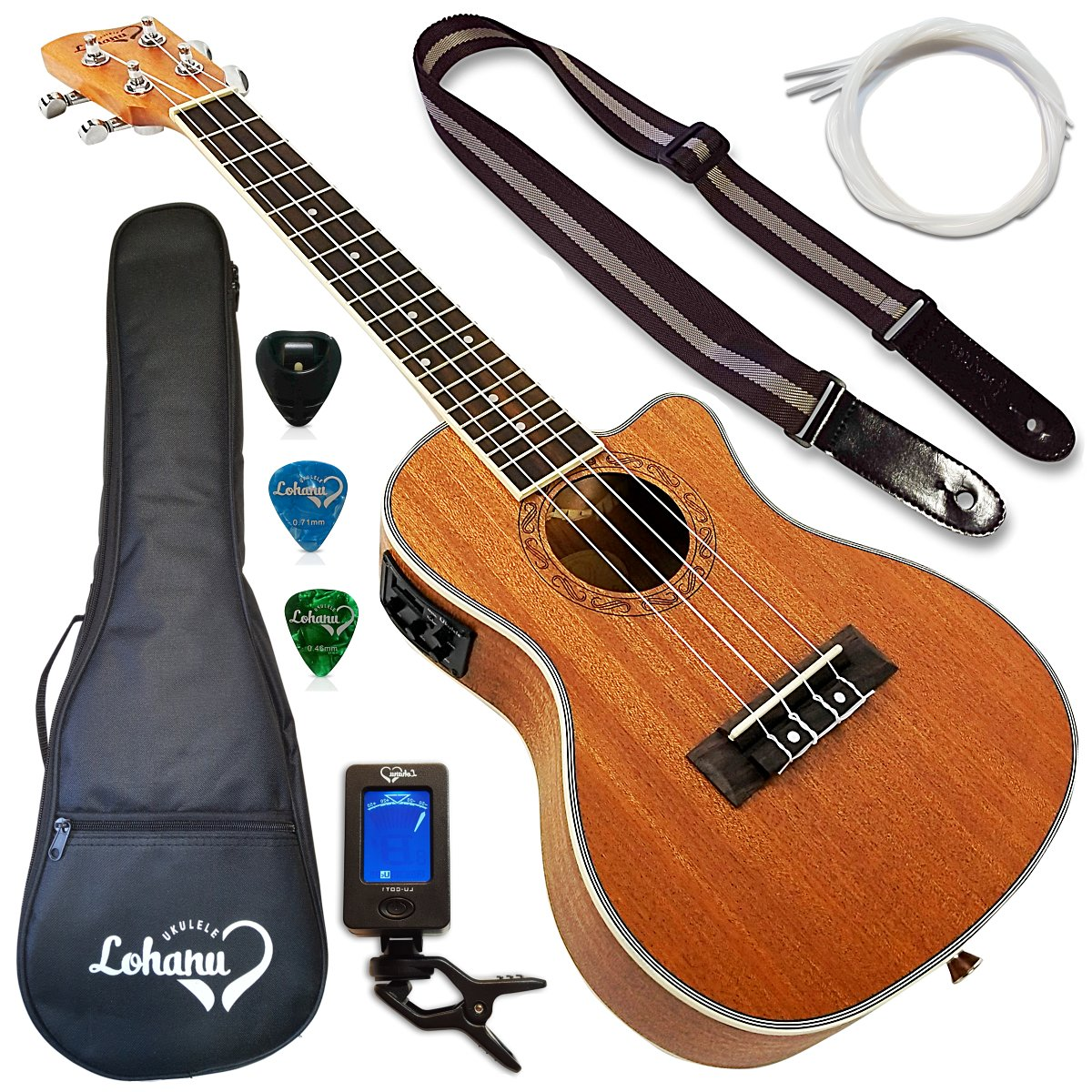 4. Lohanu Ukulele Cutaway Electric Concert With 3 Band EQ