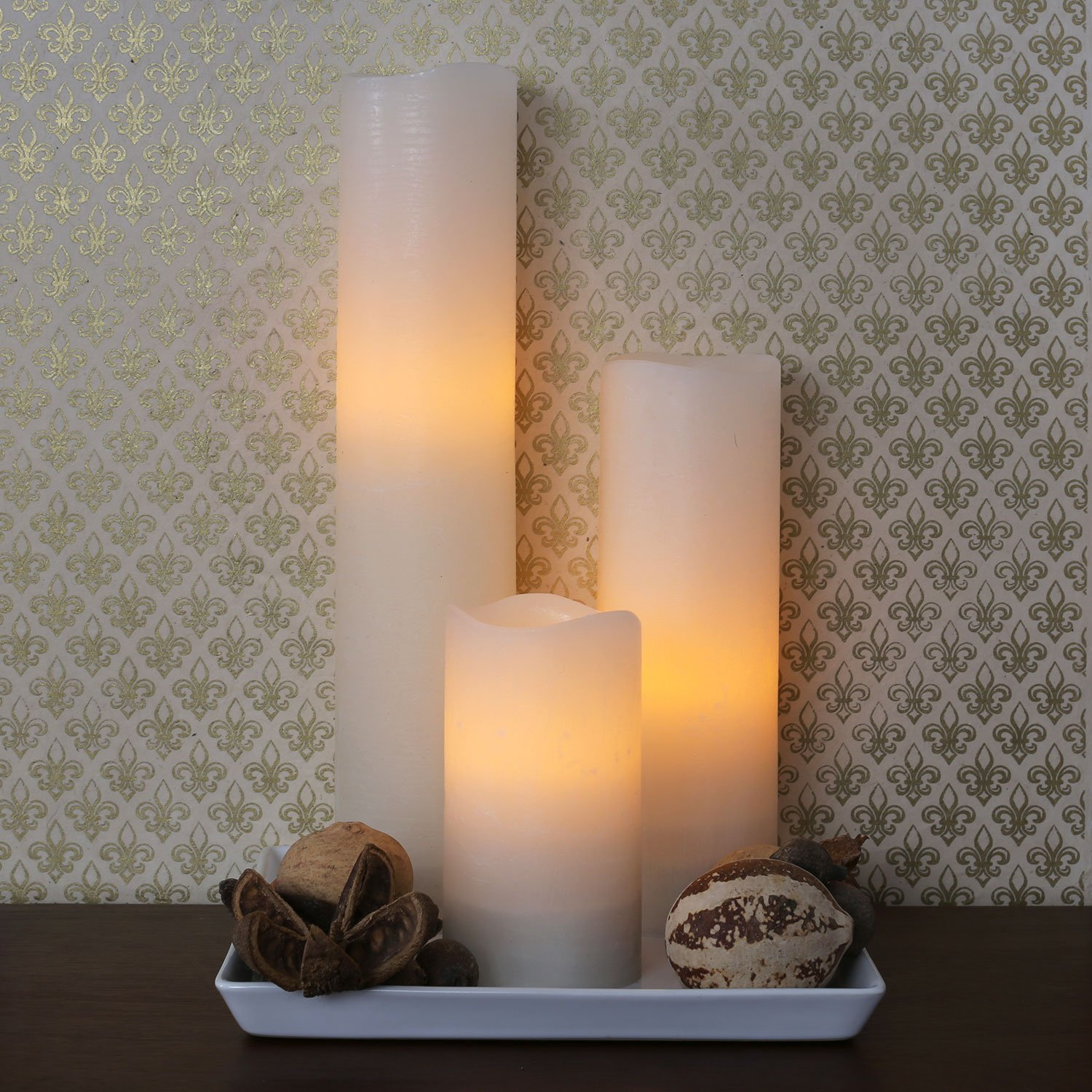Flameless Ivory Pillar Candles with Remote, Tall Candle ...