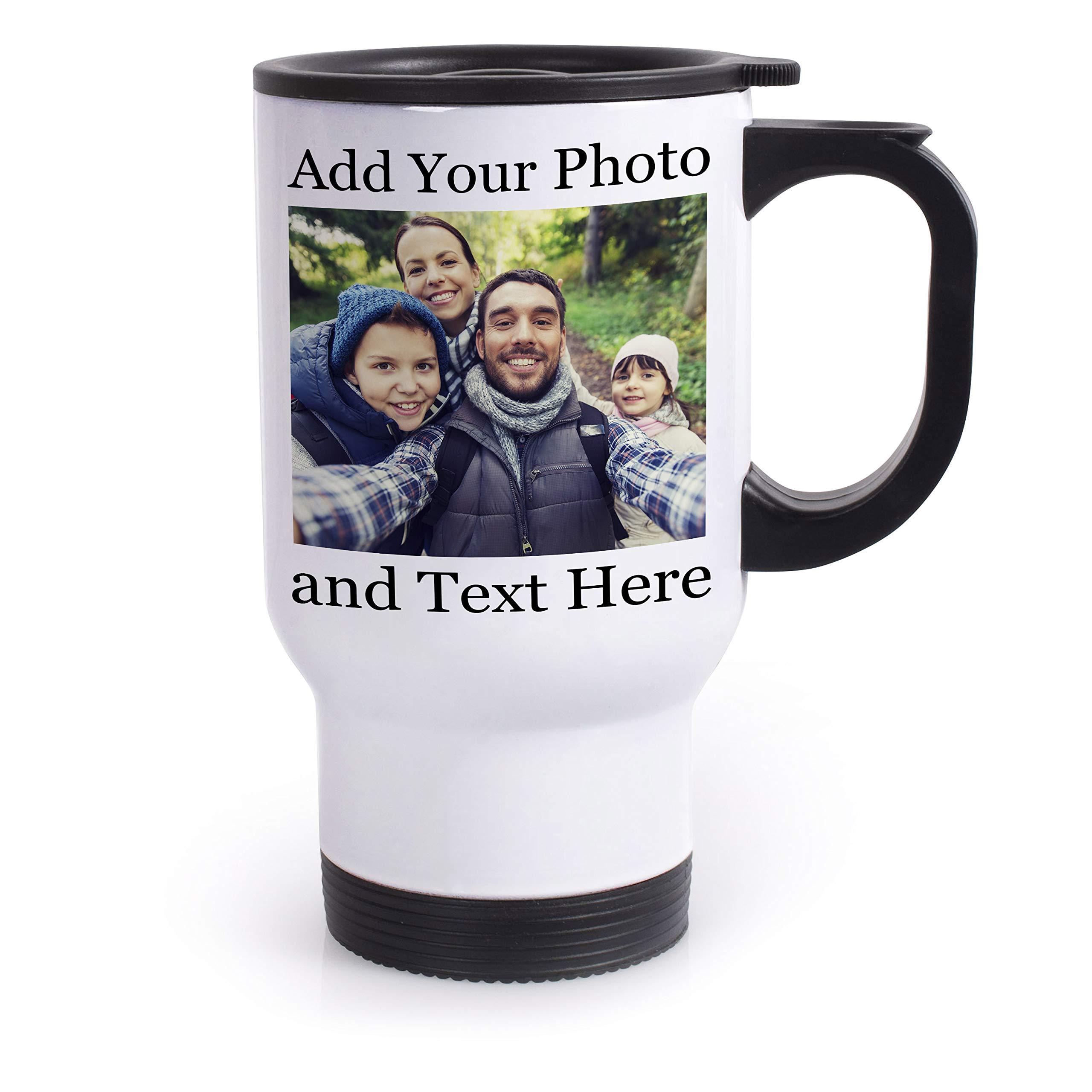 Personalized Custom Travel Mug - Add Your Photo, Text, Logo, Image - 8 Different Fonts & Colors - 14oz Travel Tumbler with Lid Coffee Mug & Tea Cup, Customizable Travel Mug