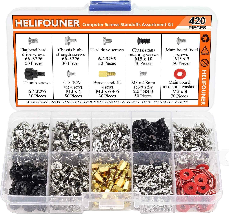 "HELIFOUNER 420 Pieces Computer Standoffs Screws Assortment Kit for 2.5"" SSD, Hard Drive, Computer Case, Motherboard, Fan Power Graphics"