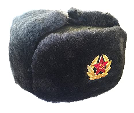 CUCUBA® Original Grey WAR HAT Cap Russian Ushanka for Winter Cold with  Russian Army Badge c8dbc4de836