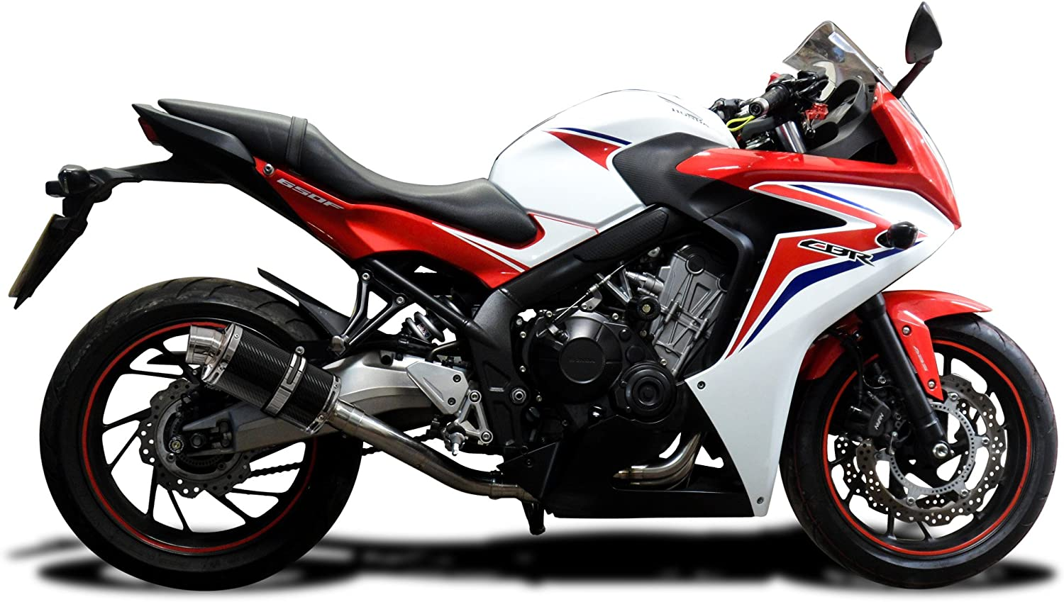 Delkevic Full 4-1 Exhaust compatible with Honda CBR650F /& CB650F DS70 9 Carbon Oval Muffler 14-18