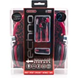 Sentry Techno Headphones Two pack: Stereo Headphones & Earbuds
