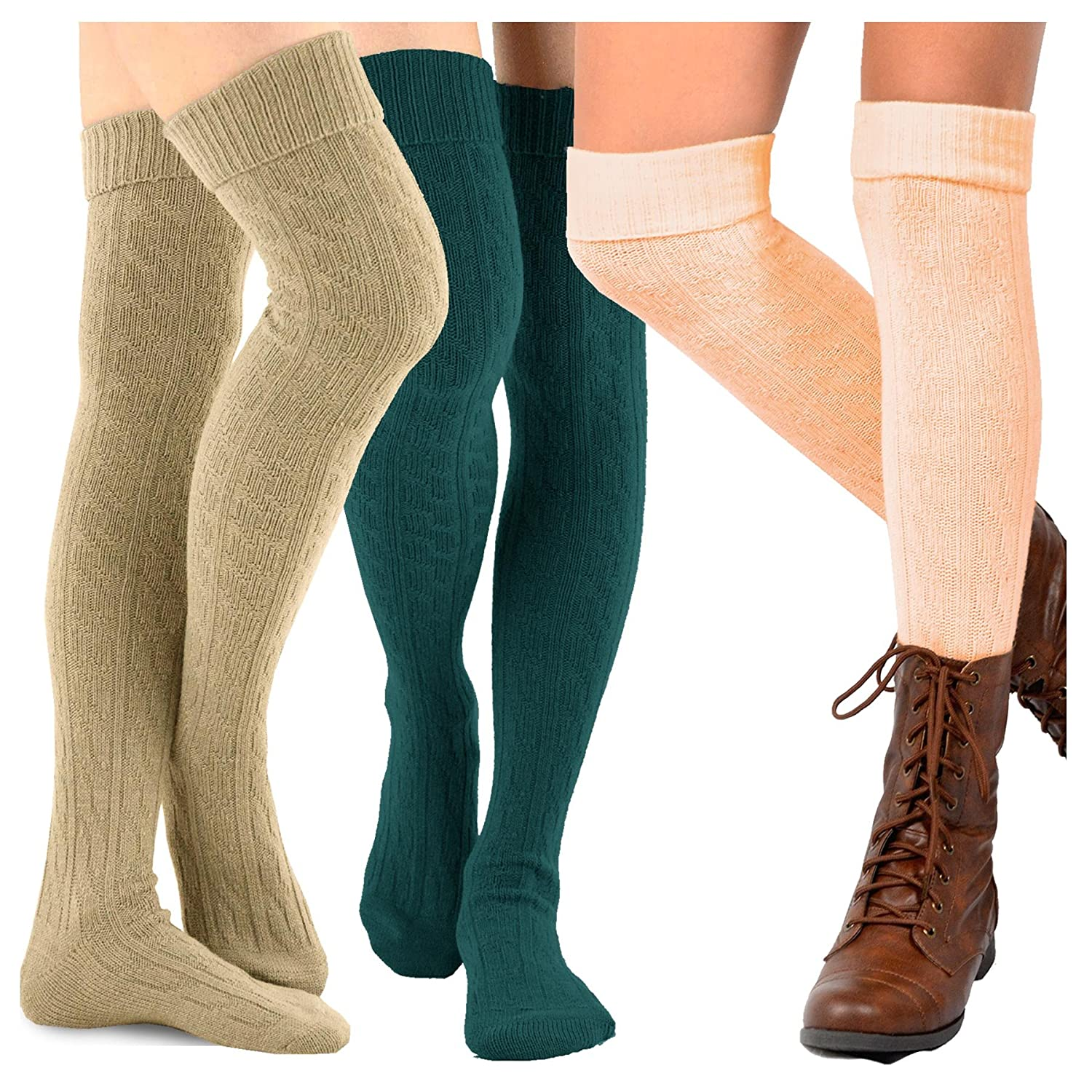 0778e35e187 TeeHee Women s Fashion Over the Knee High Socks - 3 Pair Combo (Cable Cuff  Basic Combo) at Amazon Women s Clothing store