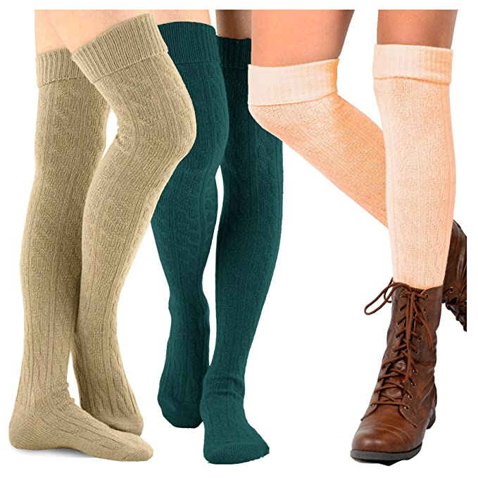 bfebce15cf1 TeeHee Women s Fashion Over the Knee High Socks - 3 Pair Combo (Cable Cuff  Basic