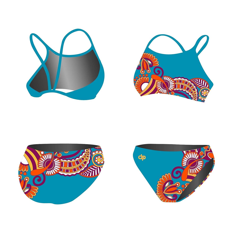 Diapolo Floral Blue Sport-Bikini Zweiteiler Flowers Kollektion für Schwimmen Synchronschwimmen Wasserball Thriathlon