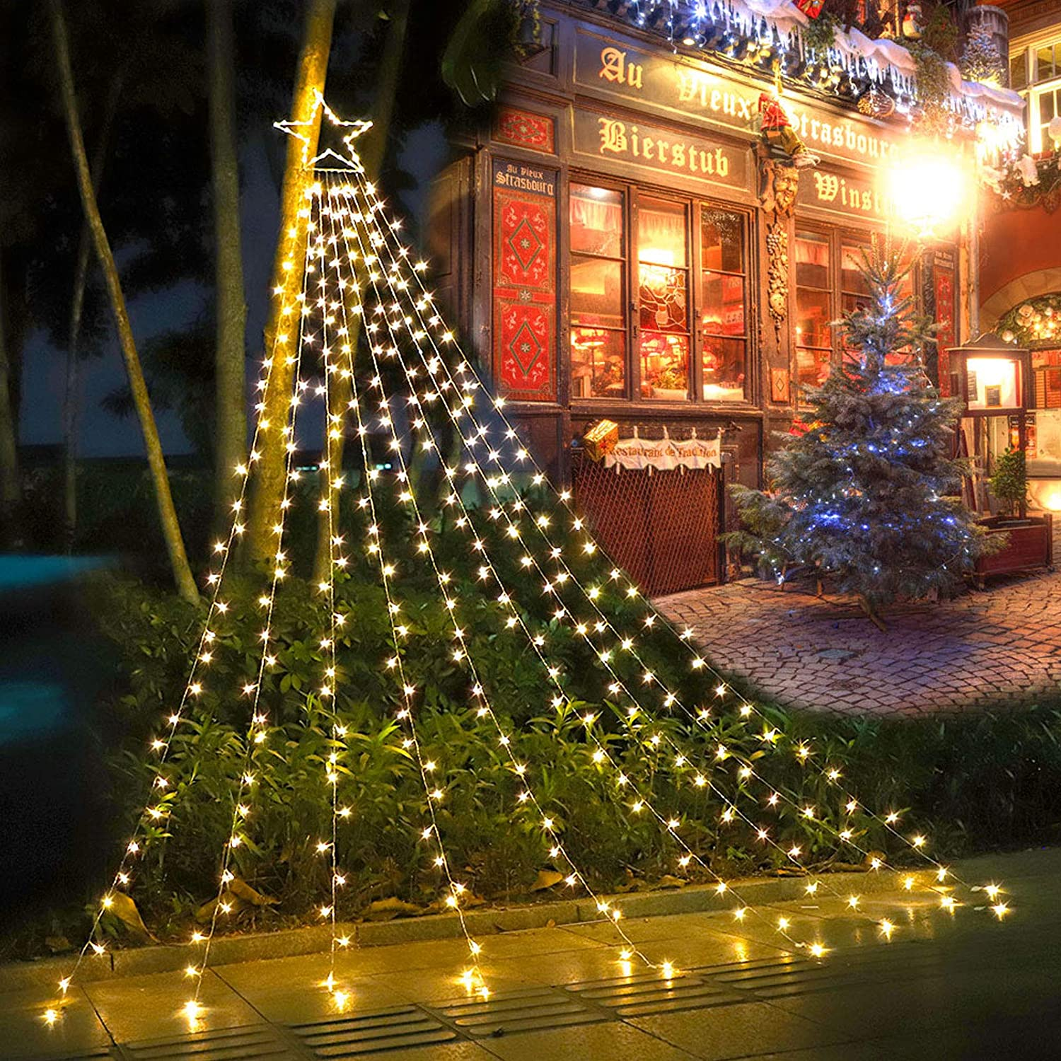 2021 Christmas Lights Amazon Com 2021 New Funiao Decorations Star String Lights 317 Led Waterfall Christmas Tree Lights With 12 Topper Star Christmas Lights Indoor Outdoor Decorative For Yard Party Home Holiday Decor Warm White