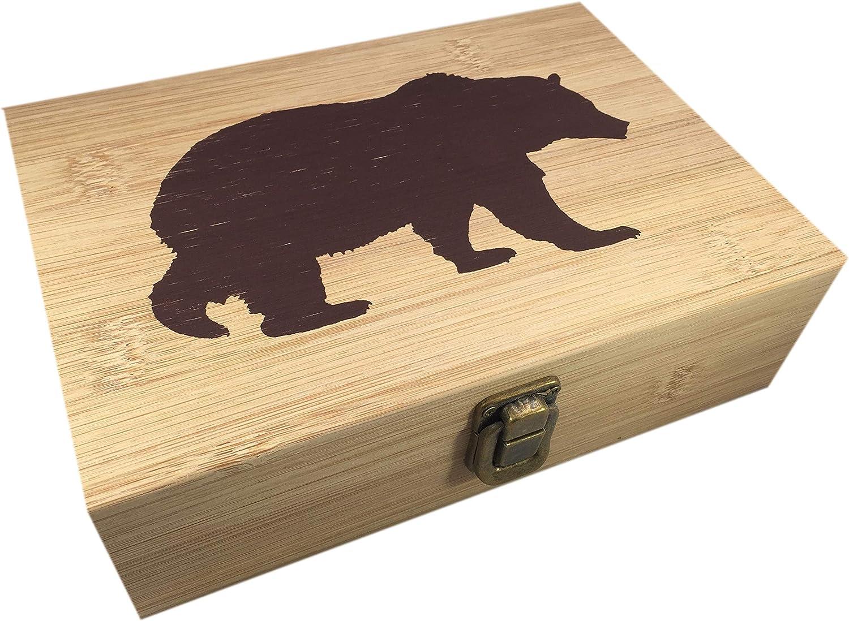 Bamboo Wood Hinged Cigar Storage Stash Box -8.5 x 6 x 2.5 Inches (Bear)