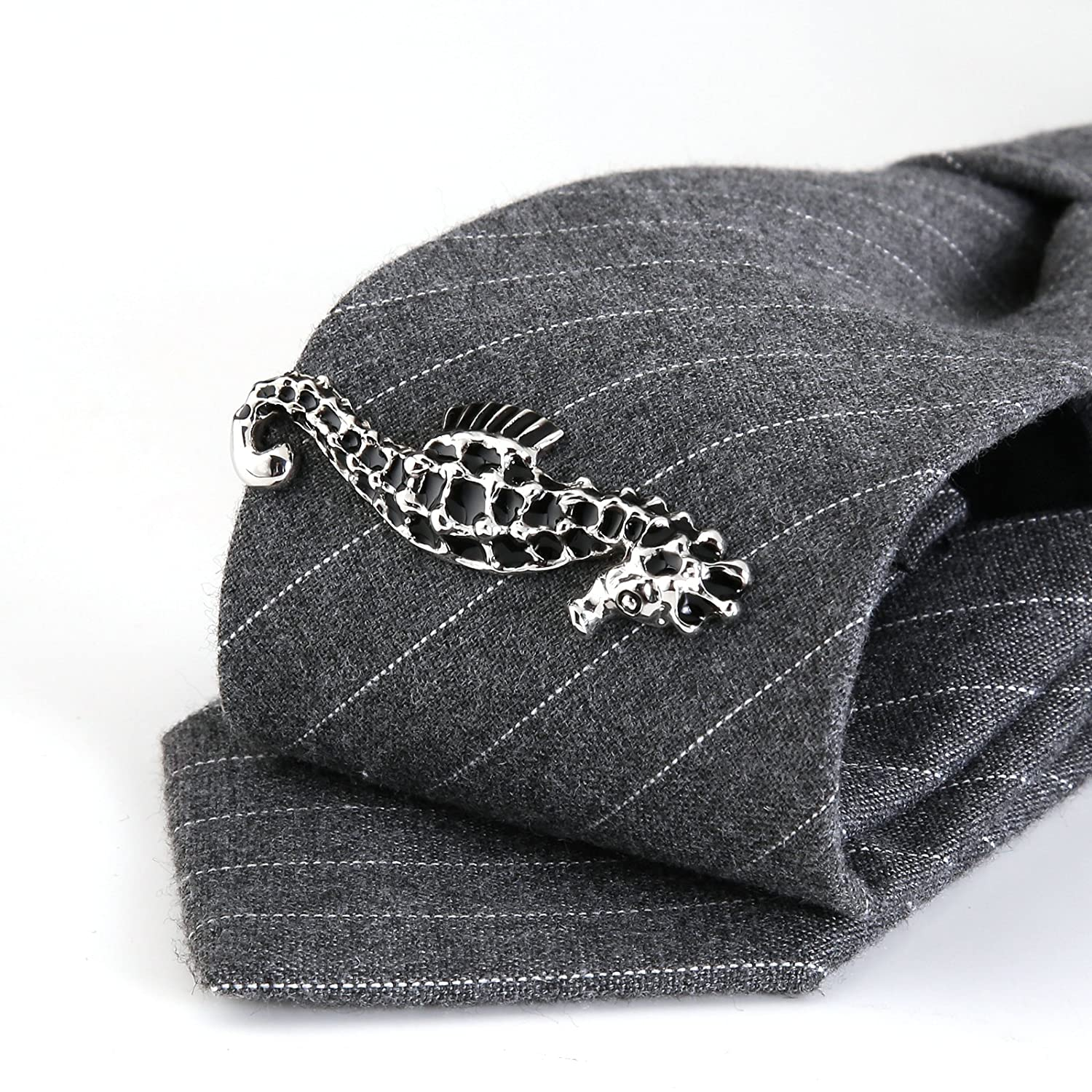 MoAndy Stainless Steel Tie Clip for Men Hippocampus for Wedding Business Black