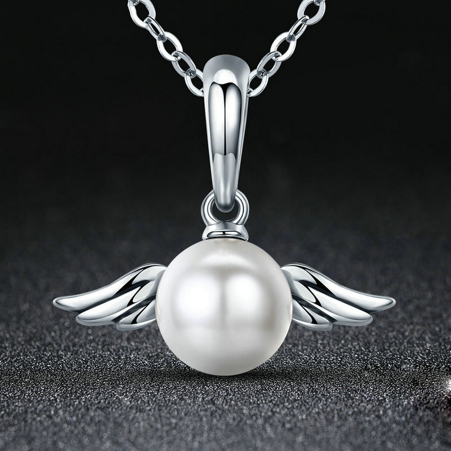 CS-DB Jewelry Silver Angel Feather Wing Chain Charm Pendants Necklaces