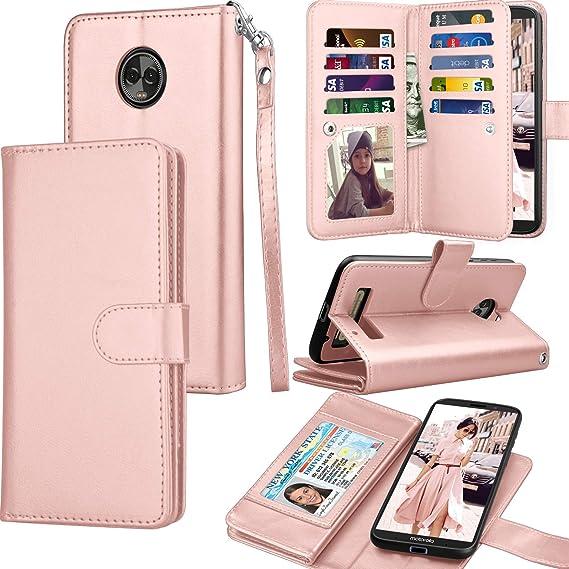 new arrival 11eb9 e696a Moto Z3 Case, Motorola Moto Z3 Play Wallet Case, Tekcoo Luxury ID Cash  Credit Card Slots Holder Purse Carrying PU Leather Folio Flip Cover  [Detachable ...
