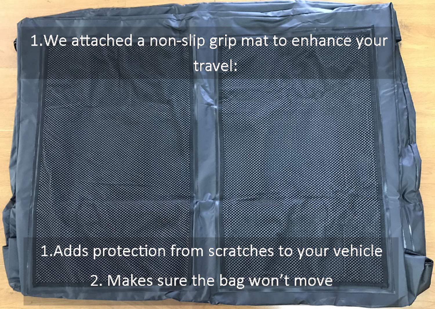 Perfection Updated Car Roof Bag Luggage Carrier Cargo Storage Roofbag for Cars w/o Racks, Attached Non-Slip Mat, Extra Rooftop Padding, Enhanced Safety Buckle by Perfection (Image #2)
