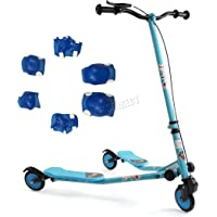 FoxHunter TRX Pro4 Tri Scooter   Blue Mini Winged Push Scooter for kids   Trike Slider Drifter   3 Wheel Boys + Girls Scooter   *FREE SAFETY GEAR INCLUDED*