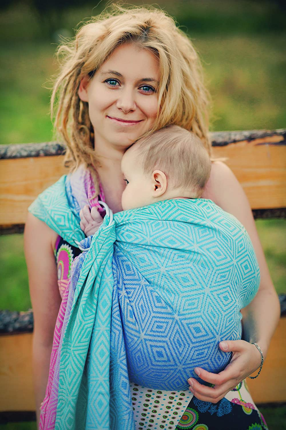 Little Frog 7126 Jacquard Ring Sling Size S Peony Cube Blue 260 g