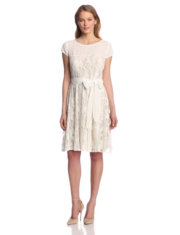 Julian Taylor Women's Cap Sleeve Lace Dress with Tie, Ivory, 12