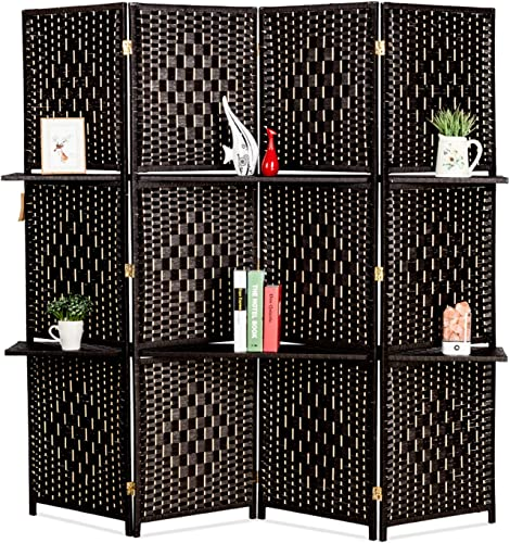Bonnlo Upgraded Heavy Duty 6FT Tall Rattan Room Divider Screens with Partition Wall 2 Display Shelves, Indoor Folding Screen Dual-Sided Hinges for Home Office 4 Panels