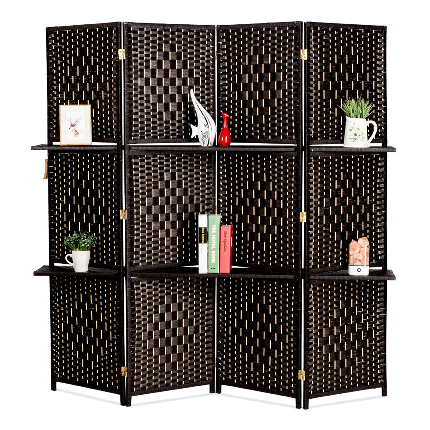 Bonnlo Upgraded Heavy Duty 6FT Tall Rattan Room Divider Screens with Partition Wall 2 Display Shelves, Indoor Folding Screen Dual-Sided Hinges for Home Office (4 Panels) by Bonnlo