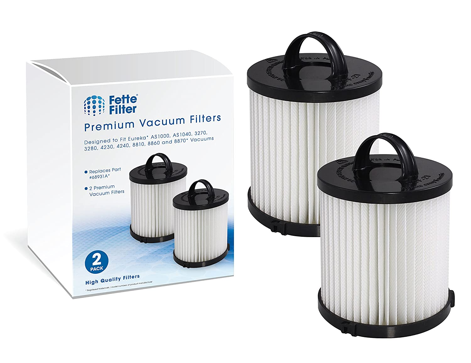 Fette Filter - Vacuum Filter Compatible with Eureka DCF-21. Compare to Part # 67821, 68931, 68931A, EF91. Pack of 2
