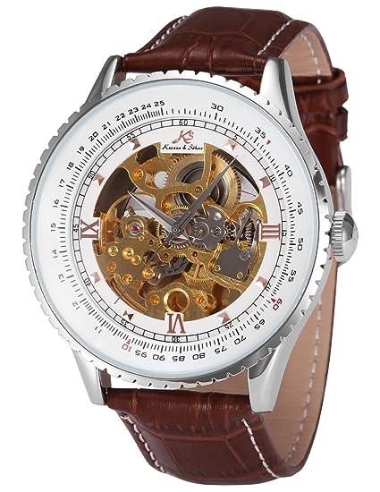 KS Reloj para Hombre Mecánico Esqueleto Automático con Correa de Cuero Marrón KS111: Amazon.es: Relojes