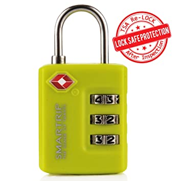 06d0a2e4945a Smartrip TSA Lock 3 Dial Combination Luggage and Travel Padlock in ...