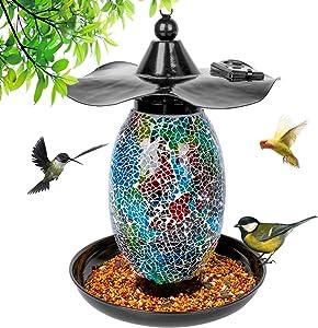 Solar Bird Feeders for Outside, Hanging Bird Feeders for Outdoors for Garden Yard Outside Decoration, Waterproof Solar Cardinal Bird Feeders for Outside, Solar Powered Lights Bird Feeder with Hook