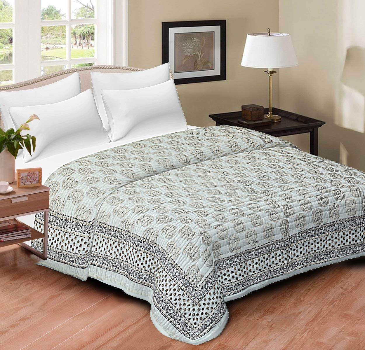 Hand Block Print Quilt Jaipur Razai Printed Bed Quilt Handmade Queen Size Blankets Quilt Home sofa Cover