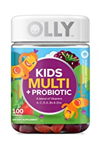 OLLY Kids Multi + Probiotic Gummy Multivitamin, 50 Day Supply (100 Count), Yum Berry Punch, Vitamins A, C, D, E, B, Zinc, Probiotics, Chewable Supplement