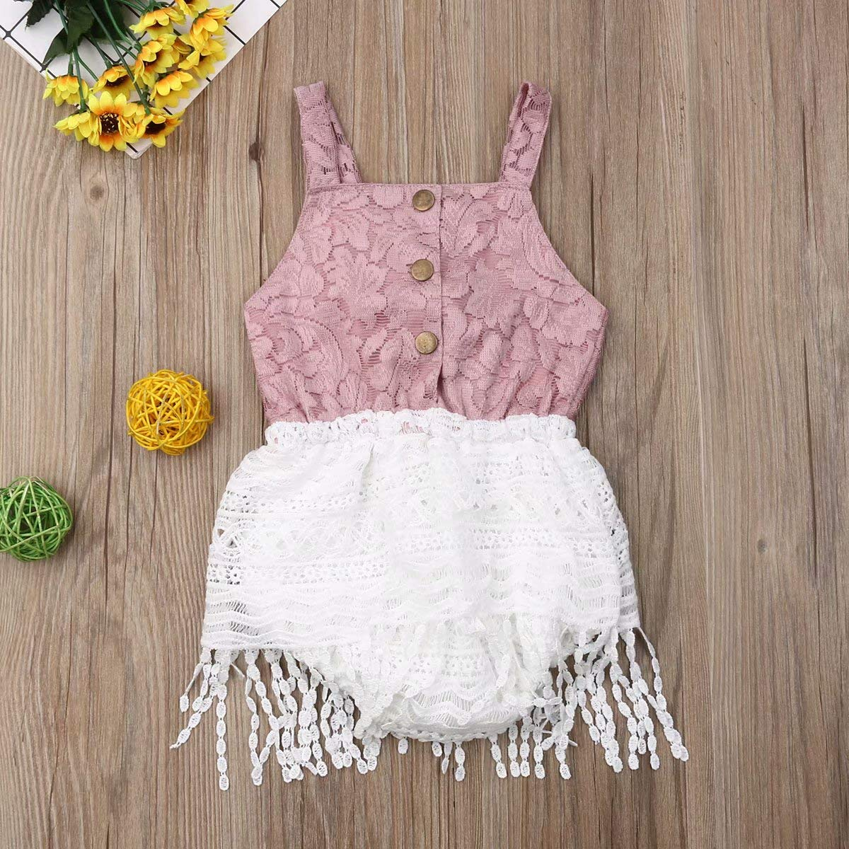 Seyurigaoka Infant Baby Girl Lace Onesie Sleeveless Big Bow Romper Button Down Jumpsuit Tassel Dress Summer Outfits