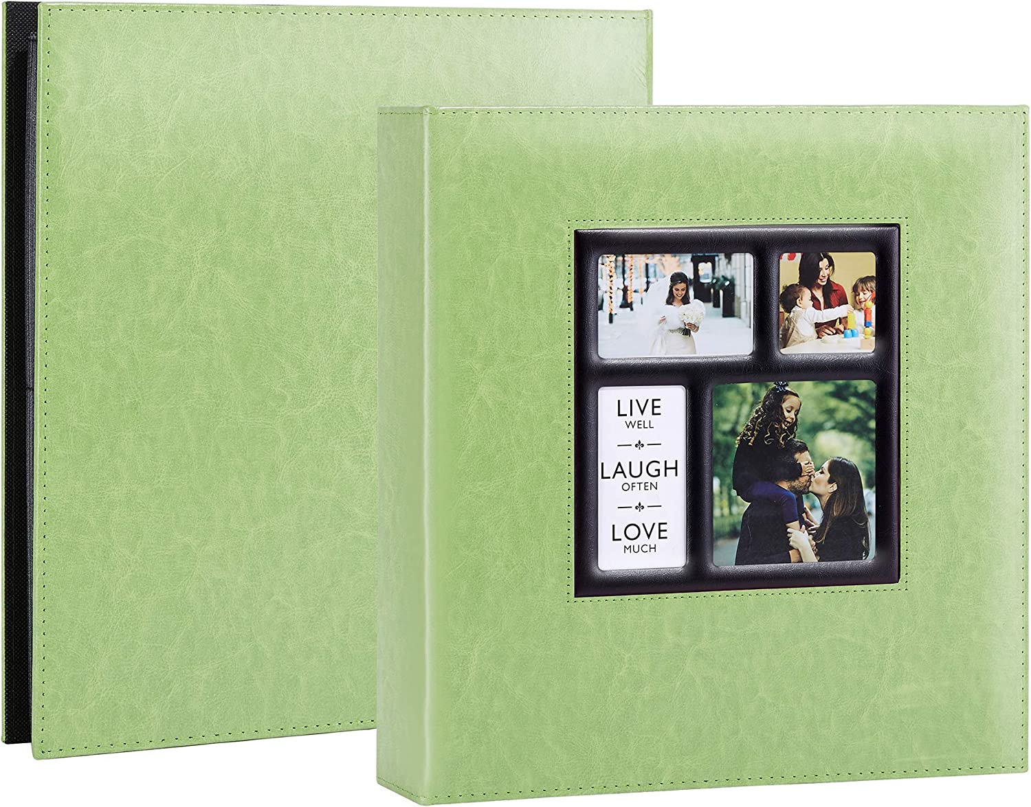 Artmag Photo Album 4x6 600 Photos, Large Capacity Wedding Family Leather Cover Picture Albums Holds 600 Horizontal and Vertical 4x6 Photos with Black Pages (Green)