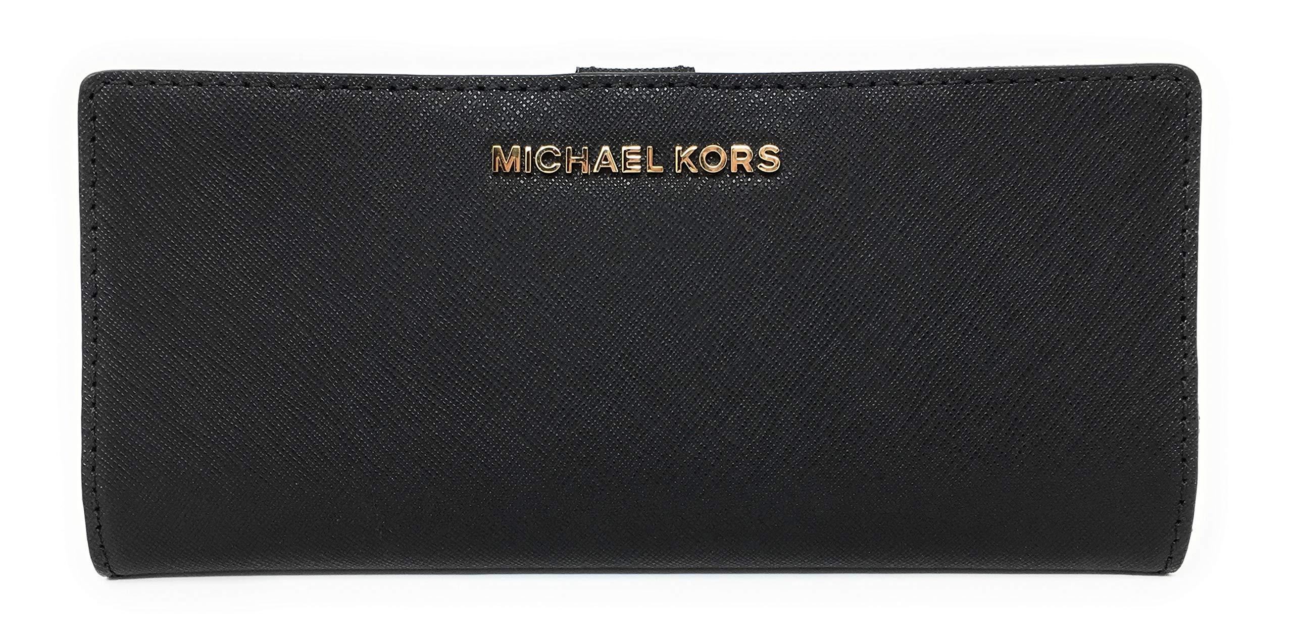 Michael Kors Jet Set Travel Flat Slim Bifold Saffiano Leather Wallet (Black) by Michael Kors