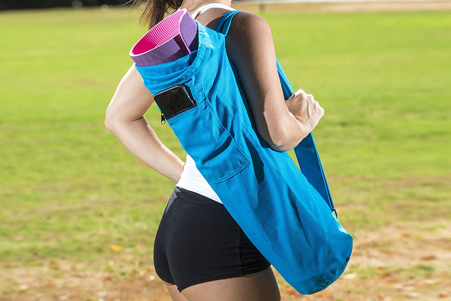 ProsourceFit Yoga Mat Bag with Side Pocket and Cinch Top 28 for Easy Carrying of Yoga Mats