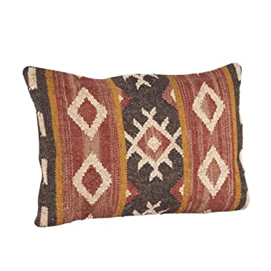 SARO LIFESTYLE 570.M1623B Kilim Design Down Filled Throw Pillow, Multi, 16 x23