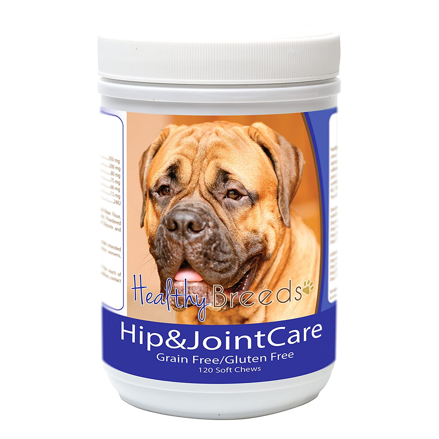 Healthy Breeds Dog Hip and Joint Care Soft Chews for Bullmastiff Bacon Flavor – Gluten, Grain Free – Over 80 Breeds – 120 Ct Glucosamine, Chondroitin, MSM Support Supplement