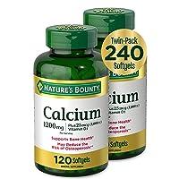 Calcium & Vitamin D by Nature's Bounty, Immune Support & Bone Health, 1200mg Calcium & 1000IU Vitamin D3, 120 Softgels (2-Pack)