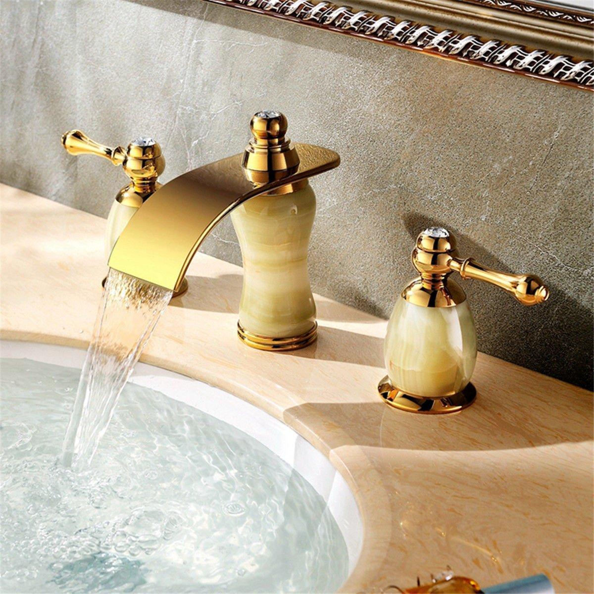 LaLF European Faucet Jade Falls Exit Hot and Cold Water Bathroom Basin Mixer ThreePiece