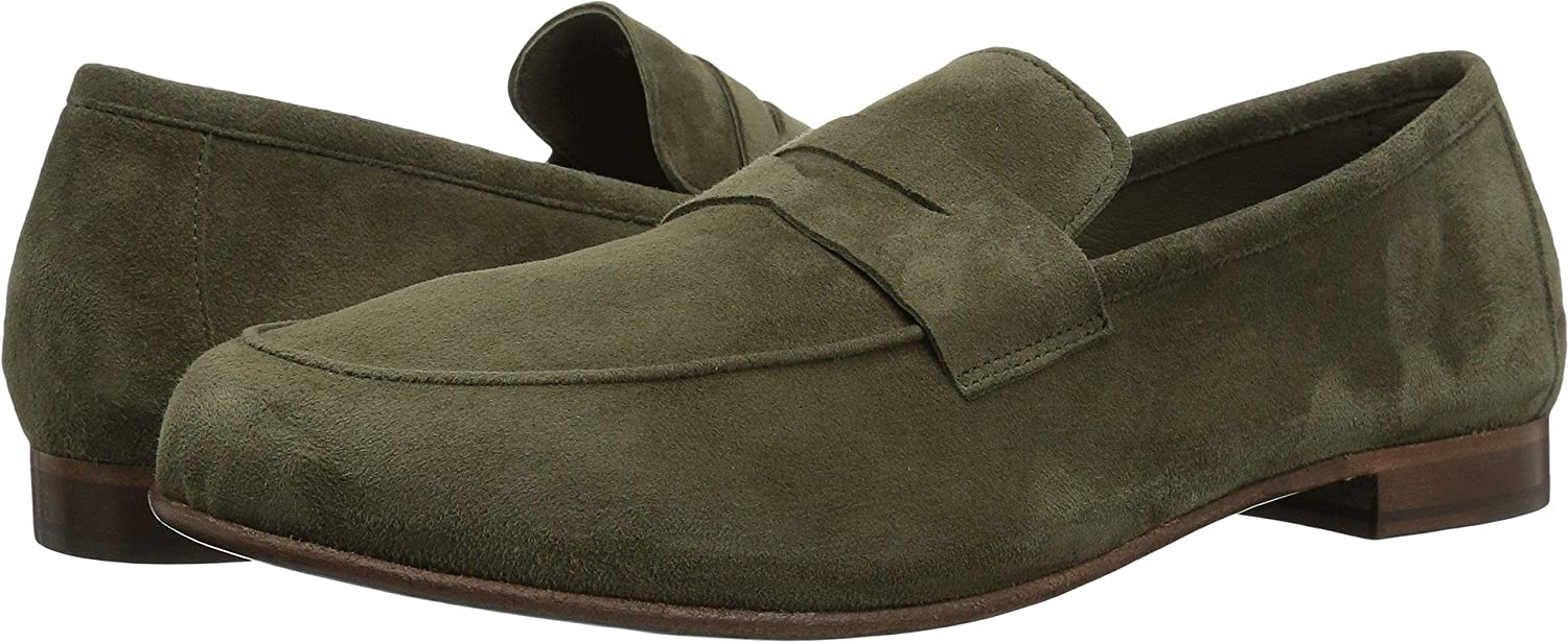 Green Suede Massimo Matteo Mens Suede Penny Loafer