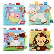 Cofisons Soft Books for Babies, 4 Packs Fabric Crinkle Activity Soft Cloth Books Infant Toys - Non-toxic Perfect Early Learning Educational Toys Books for Babies Toddlers and Preschoolers