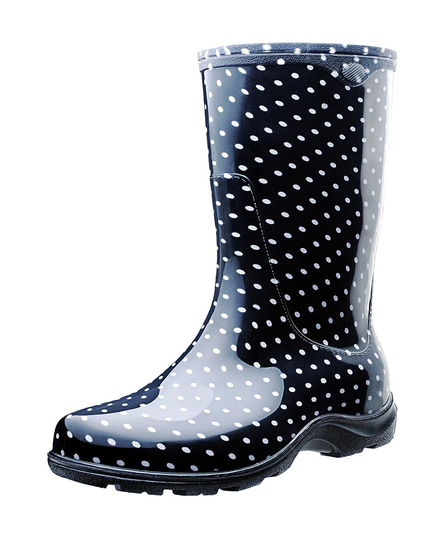 Sloggers Women's Waterproof Rain and Garden Boot with Comfort Insole, Black/White Polka Dot, Size 6, Style 5013BP06 B00AV4DP7K 6|Polka Dots Blk/Wht
