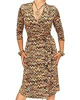 Blue Banana Women's Zig Zag Print Wrap Dress