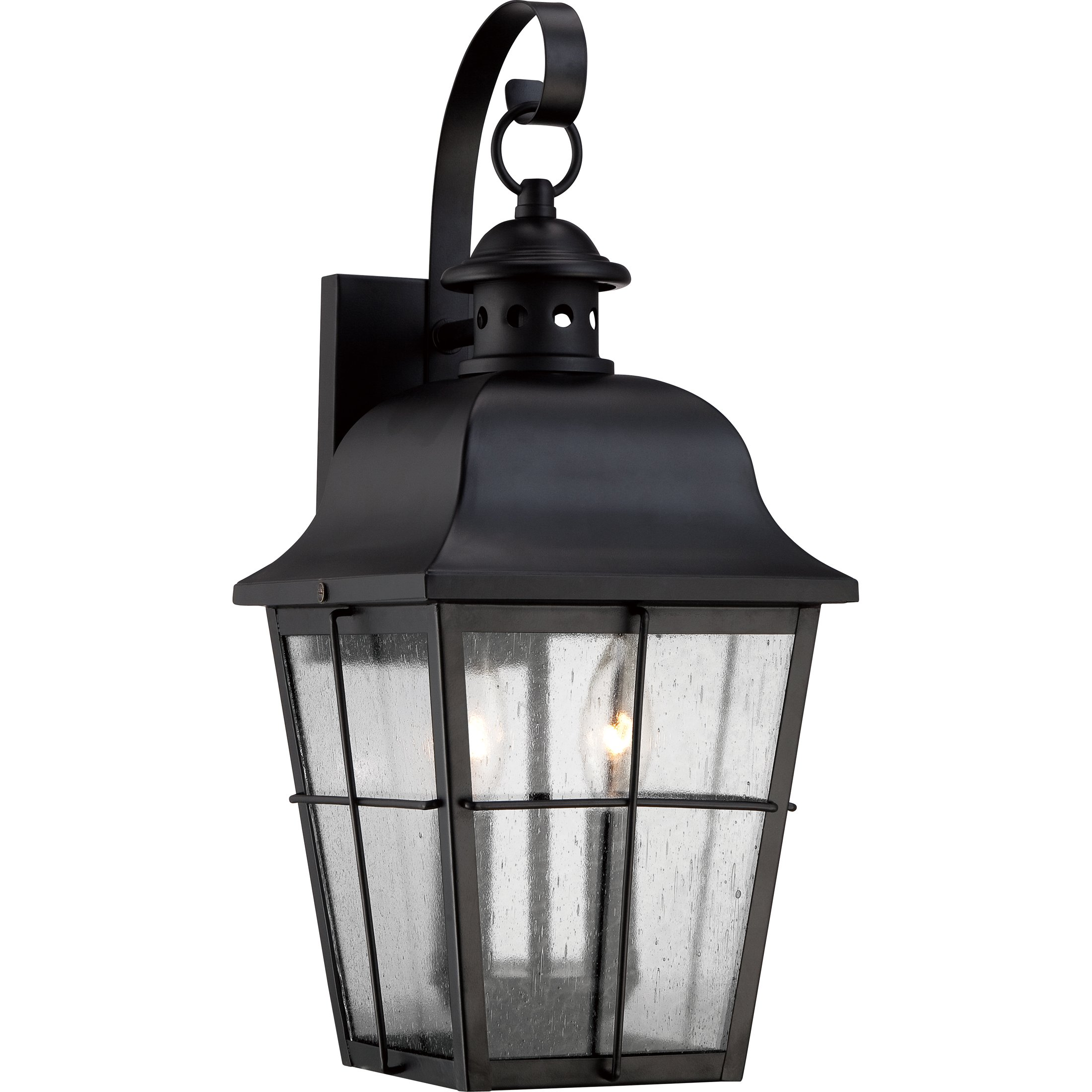 Quoizel MHE8409K Millhouse with Mystic Black Finish and  Medium Wall Lantern,  Black