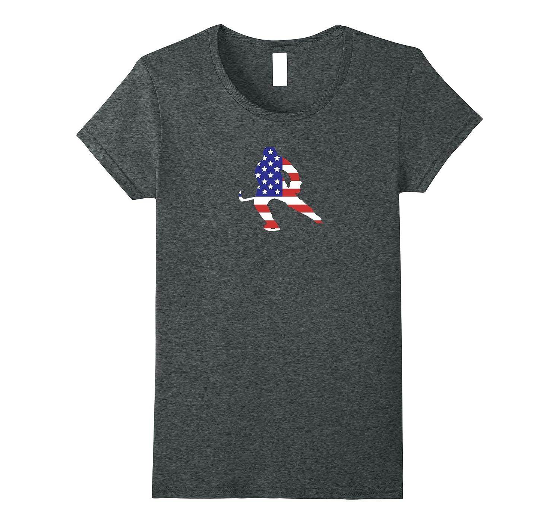 Patriotic American US Flag Fourth July Hockey T-shirt