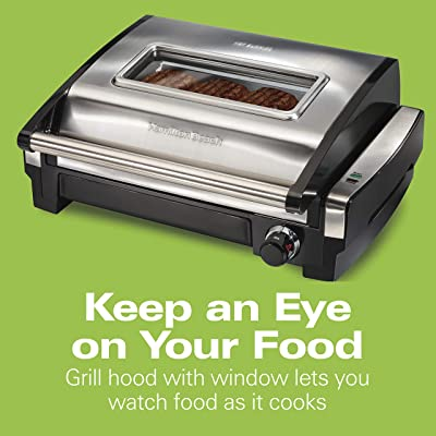 Hamilton Beach Electric Indoor Searing Grill with Viewing Window and Removable Easy-to-Clean Nonstick Plate, 6-Serving, Extra-Large Drip Tray, Stainless Steel