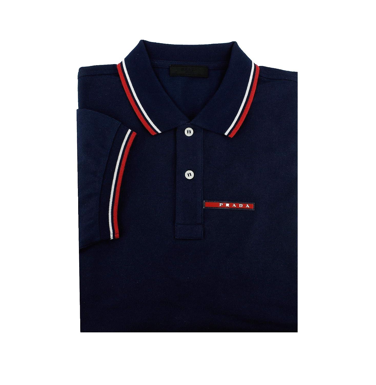 d9e084c2 Prada Men's Cotton Piqué Short Sleeve Slim Fit Polo Shirt, Ink-Blue  (Inchiostro)