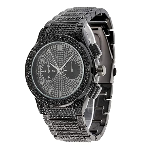 Big Bling Hip Hop Watch Inspired By Name Brand Mens Iced Out Metal Black Timepiece St10311b Black