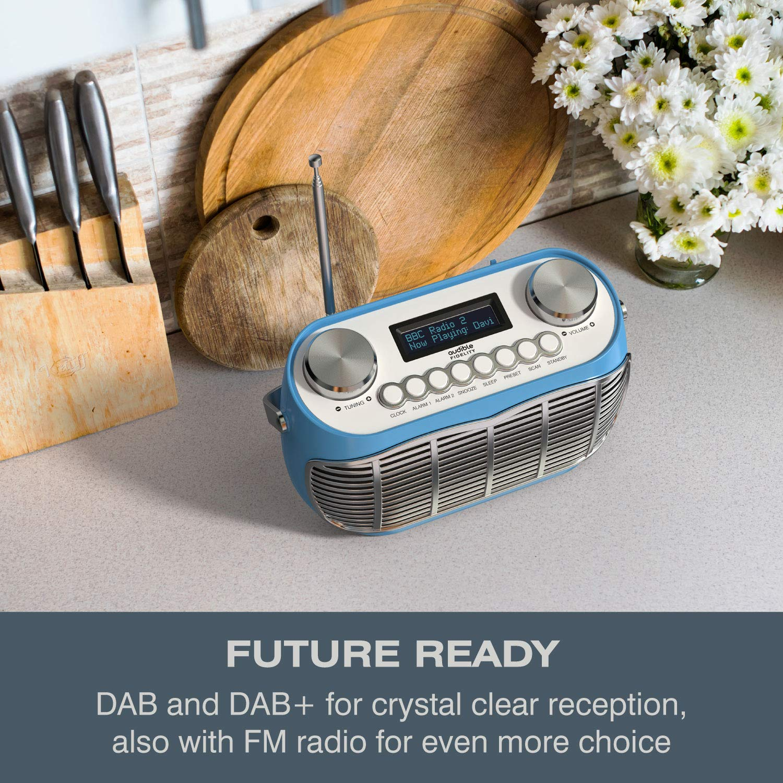 Green DETROIT DAB Radio Alarm Clock Bedside Mains Powered Or Battery DAB//DAB+//FM Retro Radio With LCD Display Clock Radio