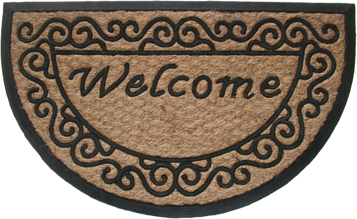 Geo Crafts G129 Tuffcor Doormat, Half Round Welcome Scroll