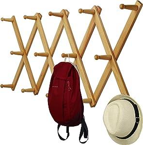 WEBI Accordian Wall Hanger,Wooden Expandable Coat Rack,Hat Rack for Wall,Accordion Wall Rack for Hats,Caps,Coffee Mugs,14 Peg Hooks,Natural