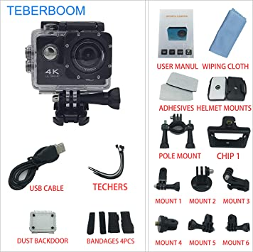 TEBERBOOM S2 Cámara de Acción Deportiva Impermeable Cámara Deportiva WiFi 4k Ultra HD 170 Grado: Amazon.es: Deportes y aire libre