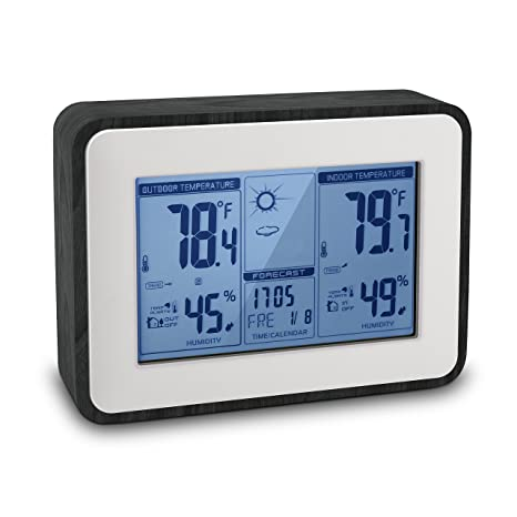 indoor outdoor thermometer digital hygrometer humidity temperature monitor multifunctional weather station with alarm clock, battery powered version  25 thermometerhygrometer for indoor gardens #2